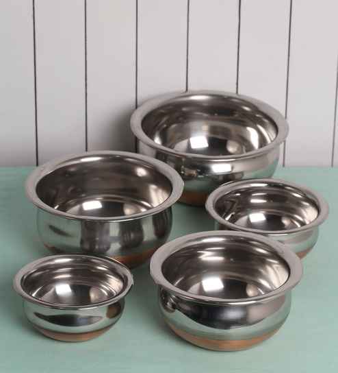 Kitchen Cook S Stainless Steel And Copper Bottom Handi Set