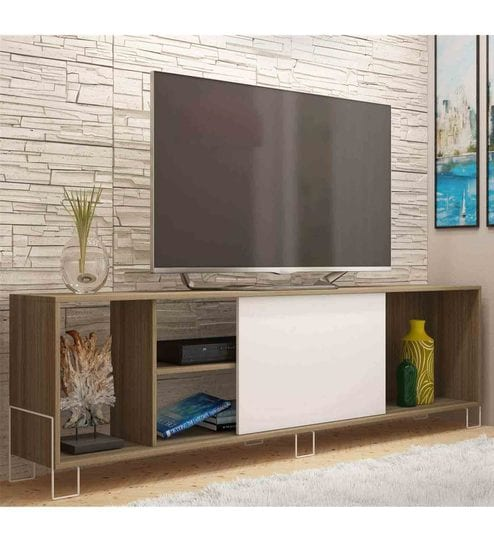 Buy Kiwako TV Unit in White & Oak Finish by Mintwud Online - Modern ...