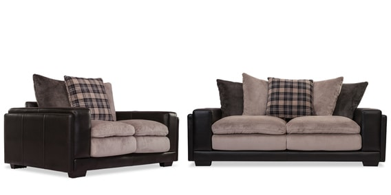 Kingdom Sofa Set 3 2 Seater In Grey Black Colour By Durian