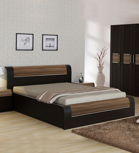 Buy King Size Bed With Storage In Natural Wenge Woodpore Finish By Spacewood Online