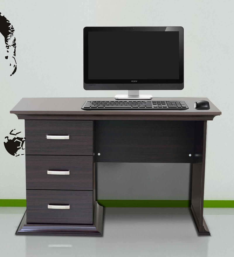 Buy Kichirou Study Table With Three Drawers In Wenge
