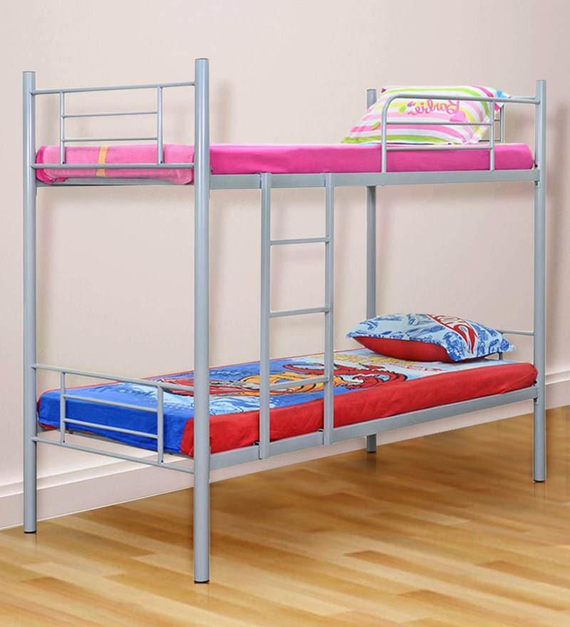 Rome Kids Bunk Bed in Grey Finish by FurnitureKraft