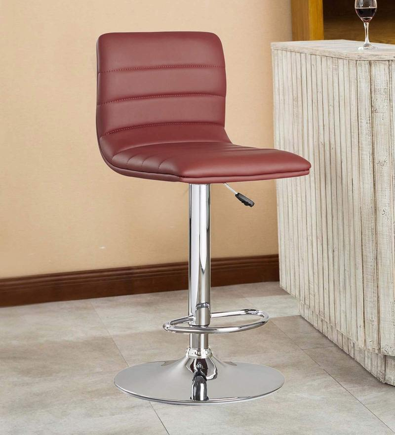 Kitchen/Bar Stool in Maroon Leatherette by Exclusive Furniture