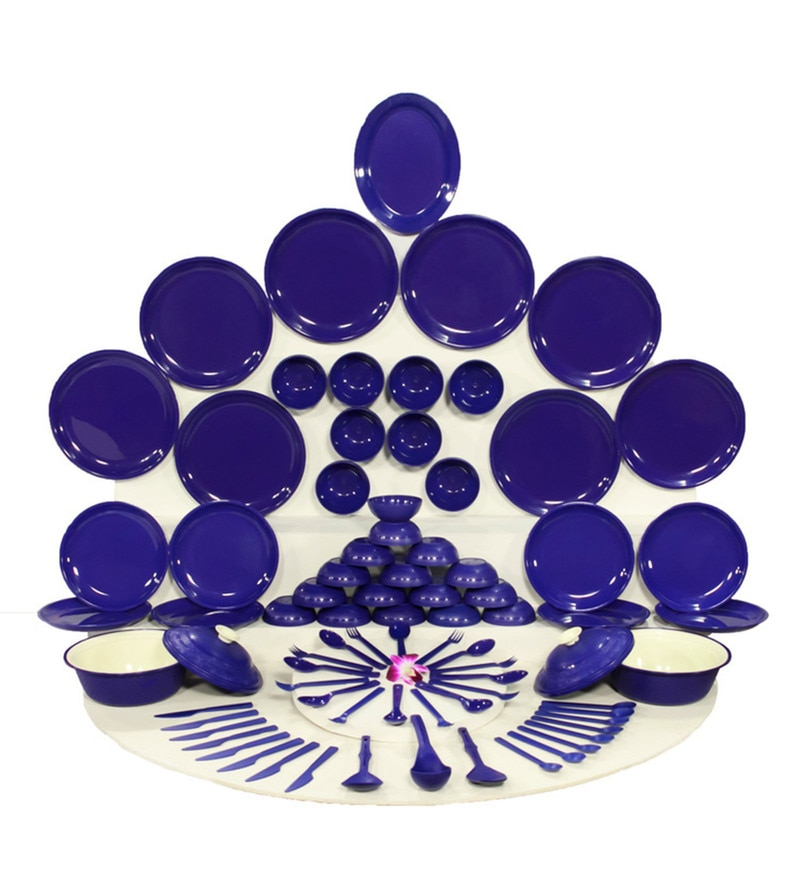 Kitchen Duniya Round Electric Blue Polypropylene Microwave Safe Dinner Set - Set of 78