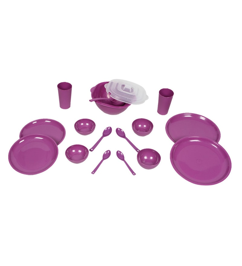Kitchen Duniya Round Purple Passion Polypropylene Microwave Safe Dinner Set - Set of 16