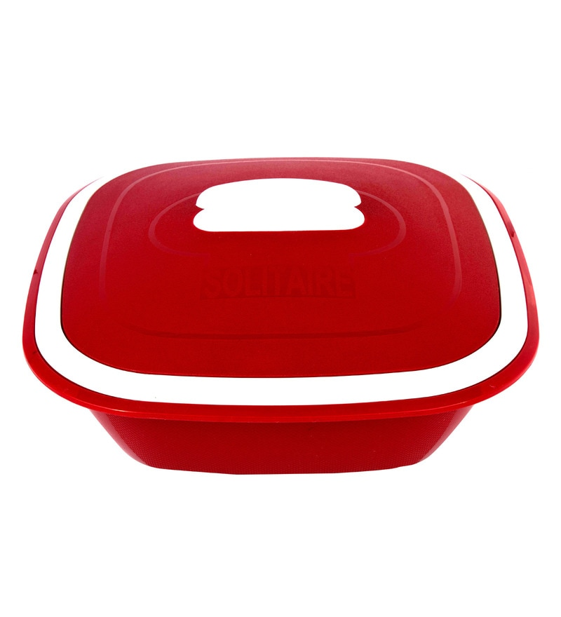 Kitchen Duniya Solitaire Microwave Safe Blossom Red Polypropylene 3 L Double Walled Casserole