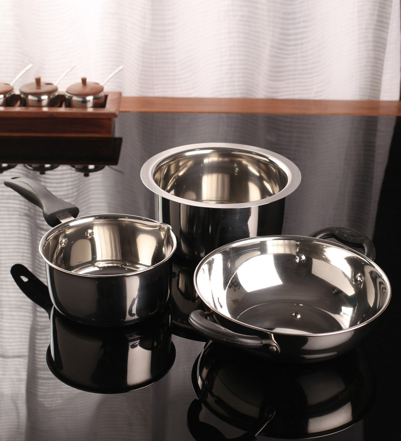 Kitchen Set Online: Buy Stainless Steel 1.2 L 3-Piece Cookware Set By Kitchen