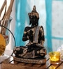 King International Royal Black & Gold Polyresin Sitting Buddha Religious Idol Statue