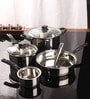 Stainless Steel Induction Friendly Cookware Gift Set Glass Lid - Set of 5 by Kitchen Essentials