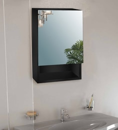 Black Engineered Wooden & Glass 13.8 X 5.5 X 21.7 Inch Single Door Mirror Cabinet With Drawer