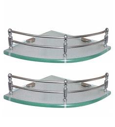 Klaxon Silver Glass Corner Shelves - Set Of 2 - 1648174