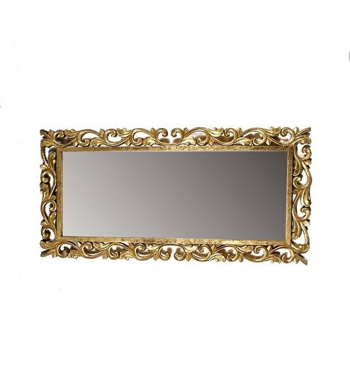 Buy Klaxon Antique Leaf Curved Big Gold Glass Decorative Mirror