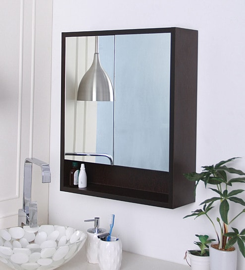 Buy Brown Engineered Wood Bathroom Mirror Cabinet By Klaxon Online