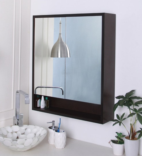 buy brown engineered wood bathroom mirror cabinet by 21735