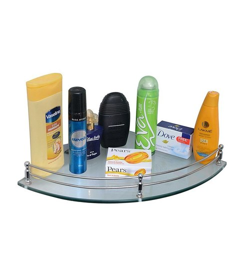 Klaxon Silver Glass Bathroom Shelf By Pepperfry @ Rs.449