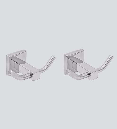 91ed7fc1bfe2 Buy Klaxon Silver Stainless Steel Kristal-102 Robe Hooks - Set of 2 Online  - Cloth   Robe Hooks - Bath Fixtures - Bath   Laundry - Pepperfry Product