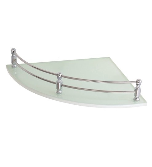 Klaxon White Gl 12 X Inch Bathroom Corner Wall Shelf
