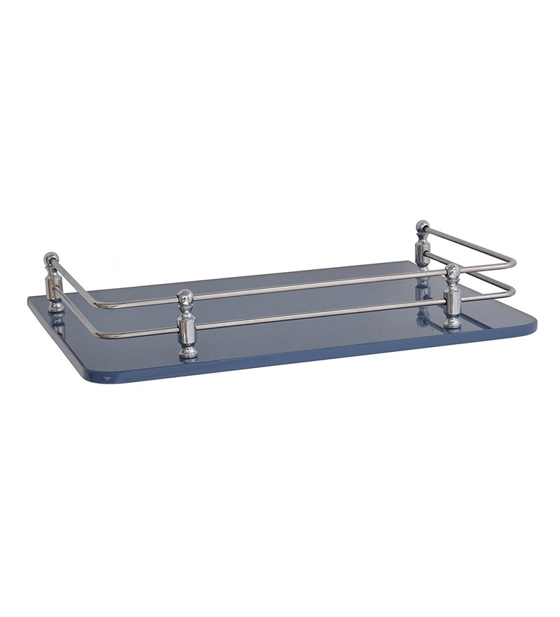 Klaxon Blue Glass 12 x 9 Inch Bathroom Front Wall Shelf