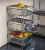 Klaxon Stainless Steel Chrome Finish Three Shelf Vegetable & Fruit Basket