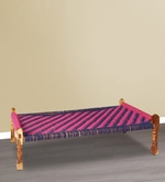 Knitted Jute Chaarpai (Bench) in Blue & Pink Colour