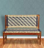Knitted Jute Bench in White & Grey Colour
