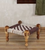 Knitted Jute Stool (Chowki) in White & Brown Colour