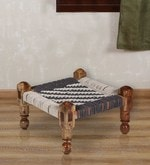 Knitted Jute Stool (Chowki) in White & Grey Colour