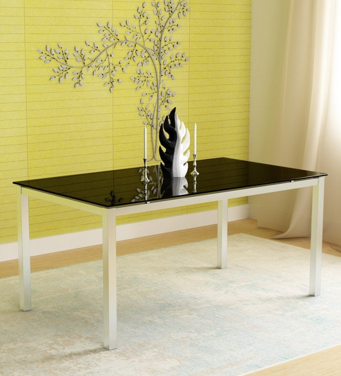 Buy Knight Six Seater Dining Table In Black Colour By Godrej Interio