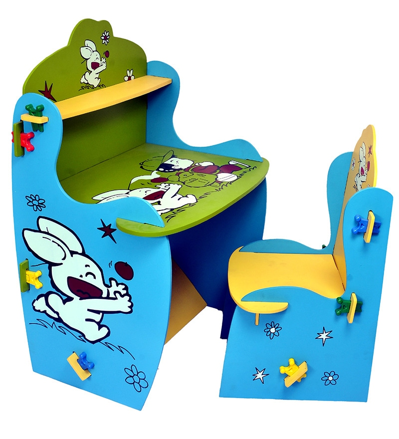 Buy Knock Down Table Chair Set In Blue And Green Colour By