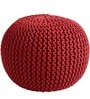 Knitted Pouffe in Red Colour by SWHF