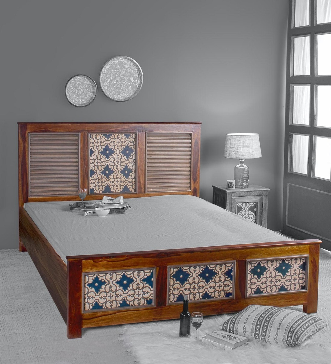 Buy Kolam Hand Painted Queen Size Bed With Storage In Teak Finish By Fabuliv Online Contemporary Queen Size Beds Beds Furniture Pepperfry Product