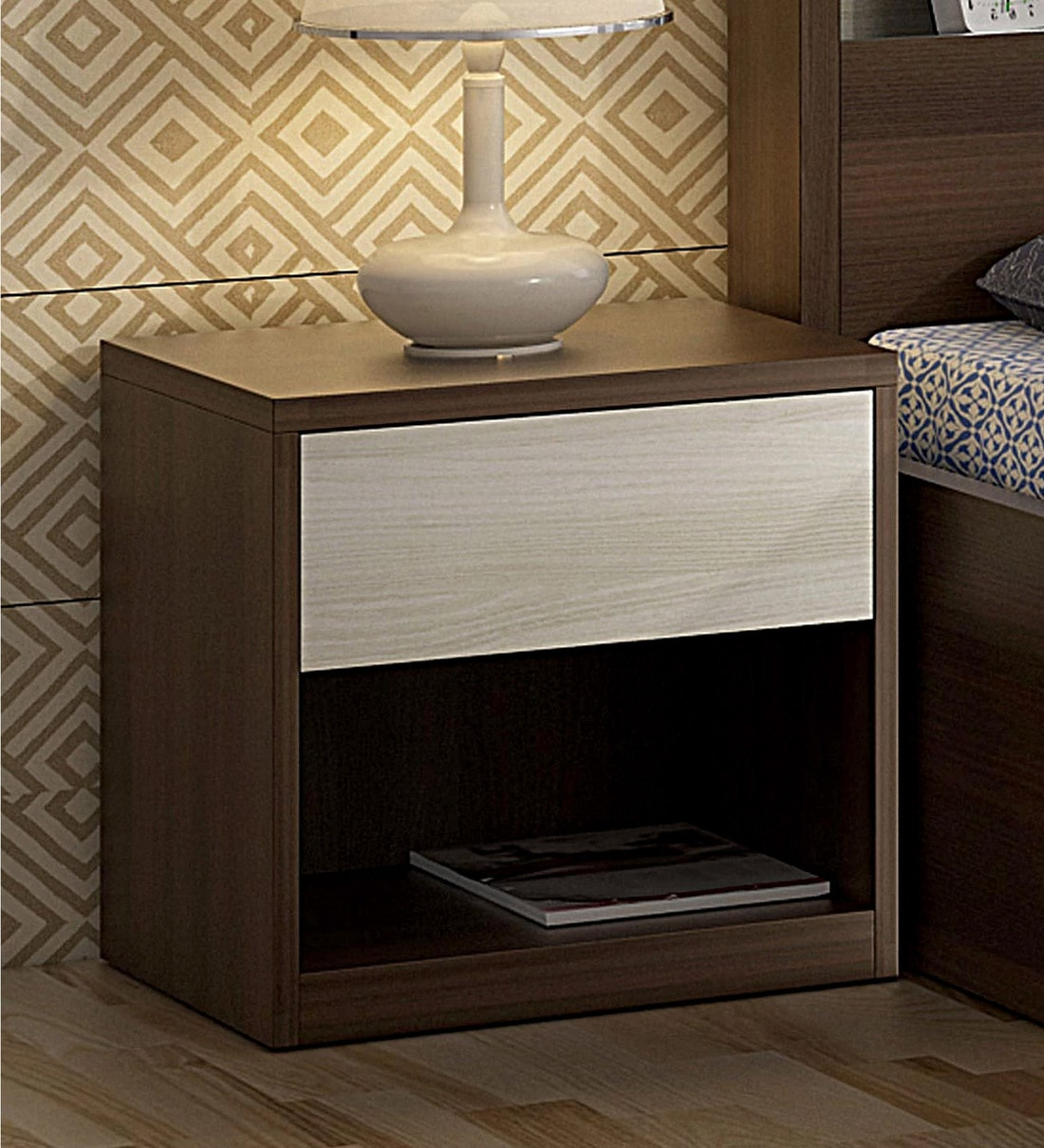 Buy Kosmo Ambry Bed Side Table In Moldau Acacia Brown And White Finish By Spacewood Online Modern Night Stands Tables Furniture Pepperfry Product