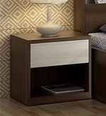 Kosmo Ambry Bed Side Table in Moldau Acacia Brown and White Finish