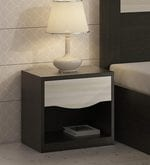 Kosmo Crescent Bed side Table in Shadow Oak and Moldau Acacia Finish