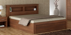 Kosmo Arena Queen Size Bed with Box Storage in Rigato Walnut Finish