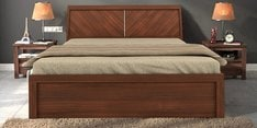 Kosmo Grace Queen Bed with Lift on Storage in Rigato Walnut Finish