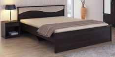 Kosmo Spin Queen Size Bed in Fumed Oak Finish