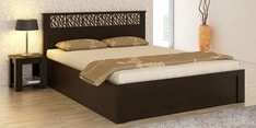Kosmo Weave Queen Bed with Box Storage & Bedside Table in Vermount Finish