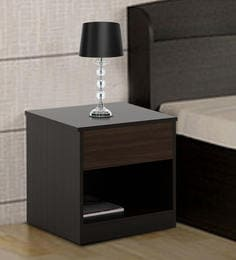 Buy Carnival Bedside Table in Wenge Finish by Spacewood Online ...