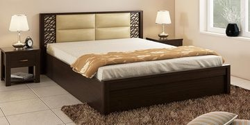 Kosmo Florence Queen Size Bed With Box Storage In Vermount Finish