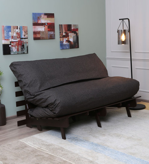 Amazing Kobe Double Futon Sofa Cum Bed With Mattress In Walnut Brown Colour By Mintwud Creativecarmelina Interior Chair Design Creativecarmelinacom