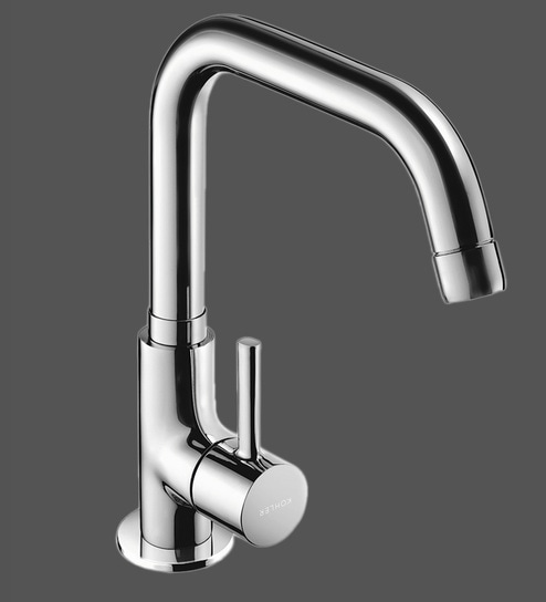 Brass Chrome Plated Single Handle Deck Mounted Premium Basin Tap (L: 11 8,  W: 2 4, H: 11 Inches) by Kohler