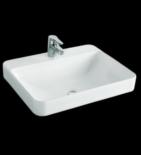 Kohler Forefront Rectangular White Ceramic Wash Basin With Single Faucet Hole
