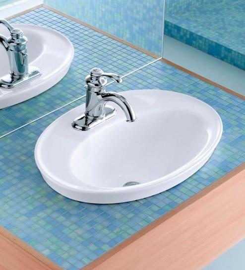 Buy Kohler Serif White Ceramic Self-Rimming Wash Basin with Single ...