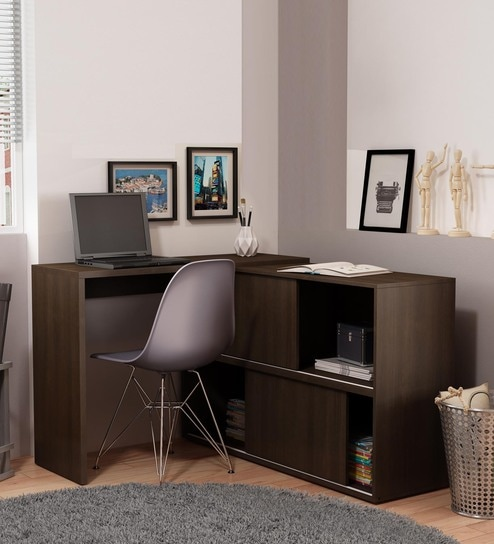 Koko Study Cum Work Desk With Book Shelf In Tobacco Finish By Mintwud