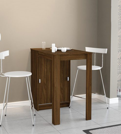 Kokona Multipurpose High Table cum Storage Cabinet in Walnut Brown Finish by Mintwud : high table with storage  - Aquiesqueretaro.Com