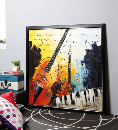Canvas 42 X 1 X 41 3 Inch Guitar Wall Painting By Kokoon