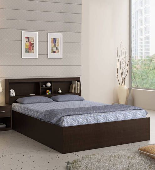 Buy Kosmo Arcade Queen Size Bed With Box Storage By Spacewood Online Modern Queen Sized Beds