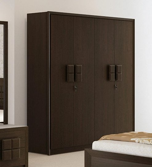 Buy Kosmo Choco Four Door Wardrobe in Vermont Finish by Spacewood