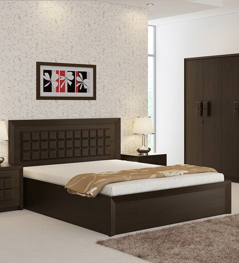 Buy Kosmo Choco Queen Size Bed With Hydraulic Storage In Vermont